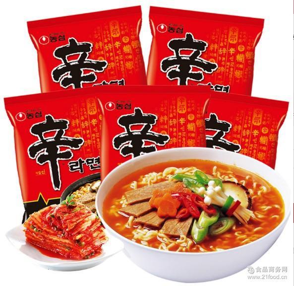 韩国进口农心辛拉面速食煮面泡面方便面辛辣味香菇牛肉面120g*5袋