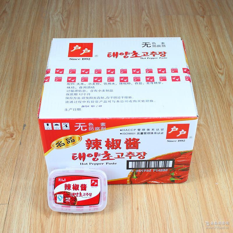 料理店* g韩国风味 拌饭烤肉酱 整箱批发 户户辣椒酱 200g