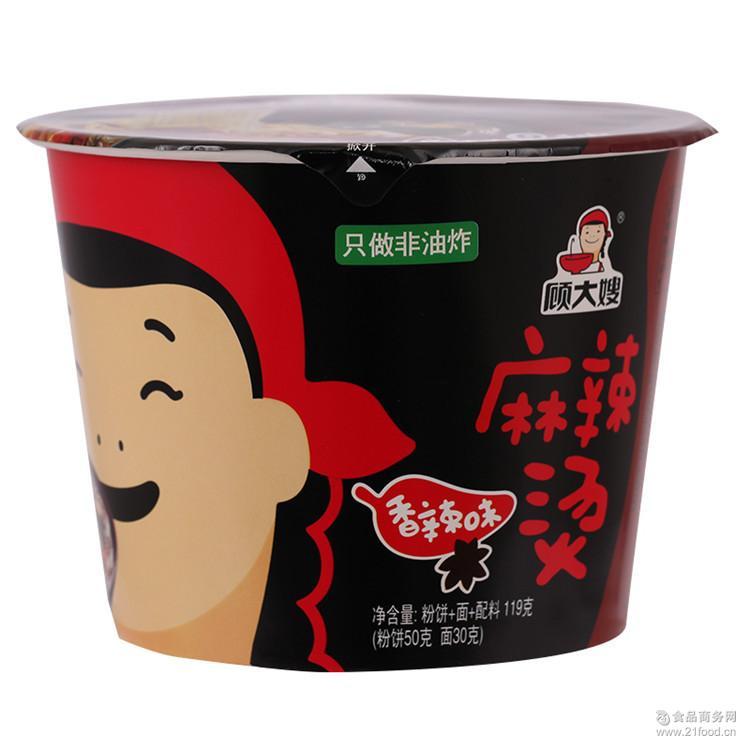 非油炸方便粉丝刀削面片速食泡面桶 顾大嫂麻辣烫香辣味119g*12桶