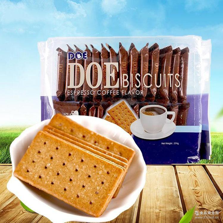 马来西亚DOE进口夹心饼干374g咖啡味休闲零食品早点心小袋装