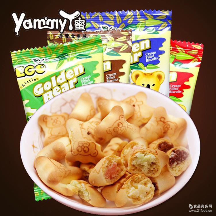 夹心饼干4种口味ego儿童* 马来西亚进口EGO金小熊饼干 整箱6斤