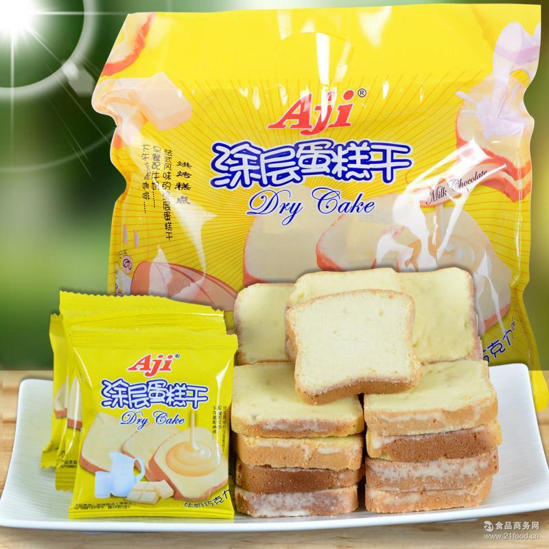 Aji白巧克力面包干300克奶油涂层蛋糕干休闲饼干零食品批发代发