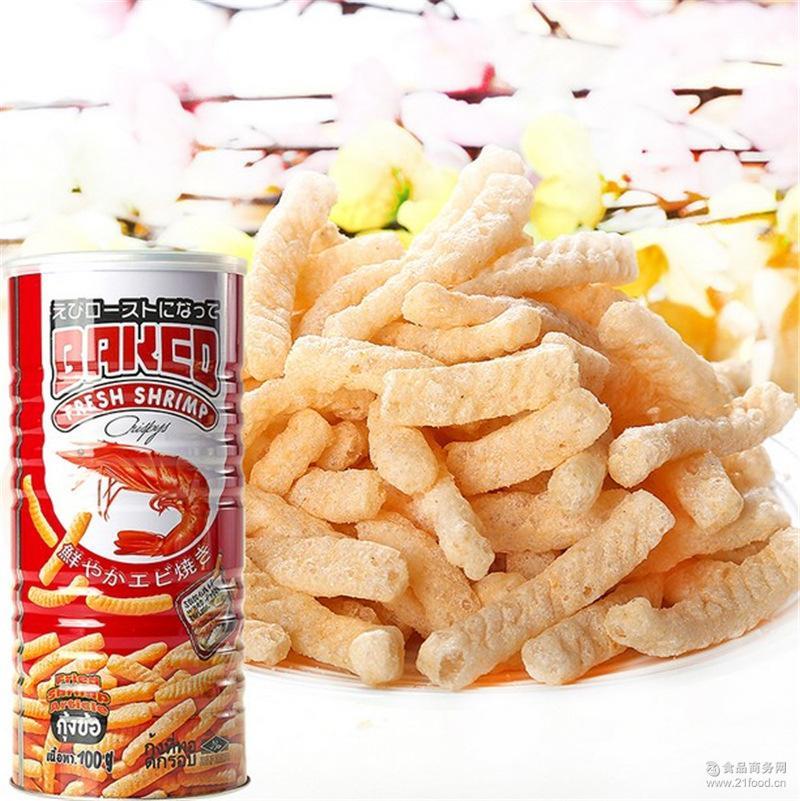 泰国进口零食80后美食鲜烤虾条薯条100g罐装儿童膨化食品批发