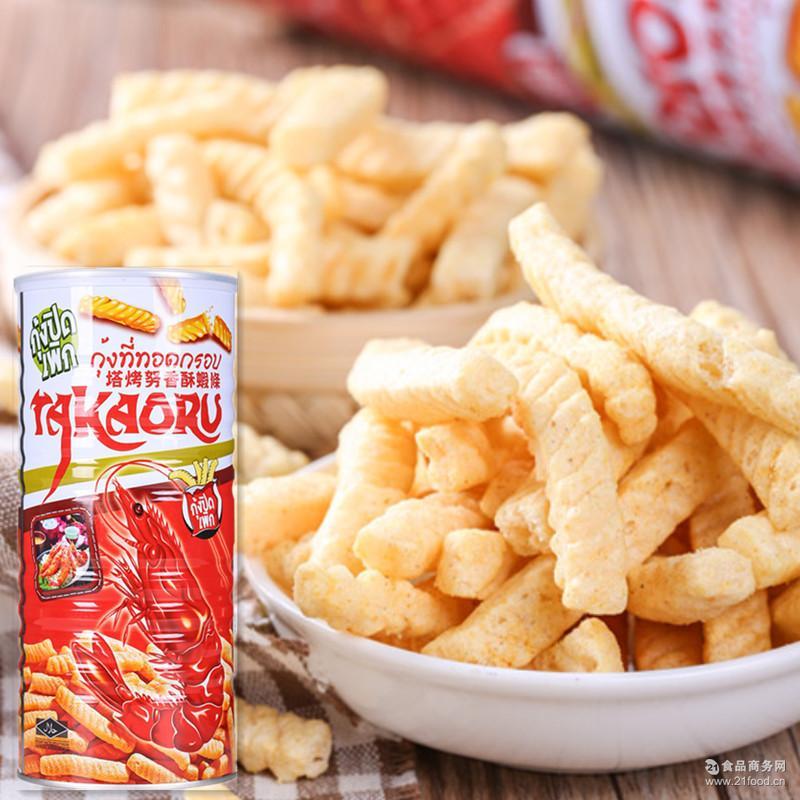 美伦多塔烤努香酥虾条100g铁罐装海鲜味休闲零食膨化食品批发