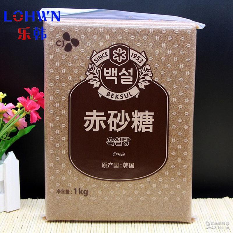 希杰白雪红糖1kg*20*黑砂糖烘焙焦糖调味 韩国进口食品