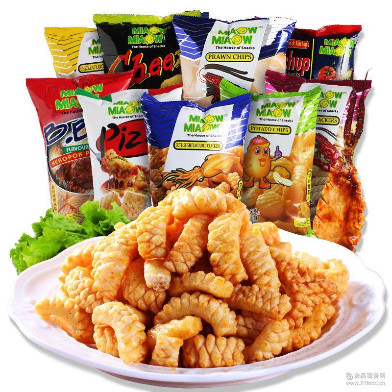 马来西亚进口 妙妙鱿鱼卷虾味片烧烤味酥60g 膨化零食品