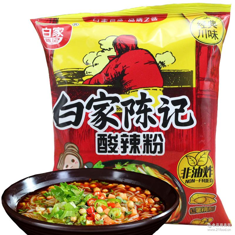 酸辣粉味方便粉丝108g特色方便食品批发供应 白家陈记
