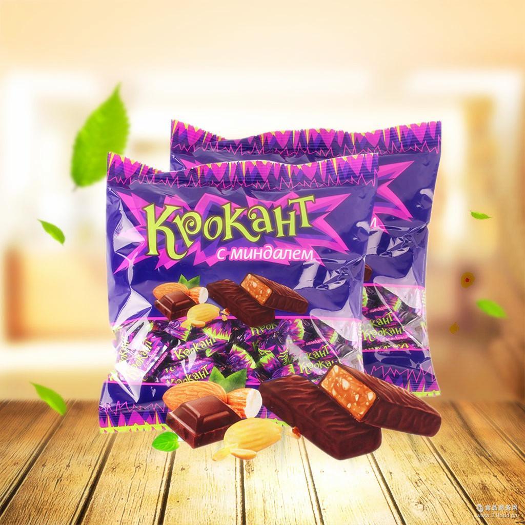 kdv紫皮糖巧克力味夹心糖果500g/袋办公休闲食品 俄罗斯进口零食