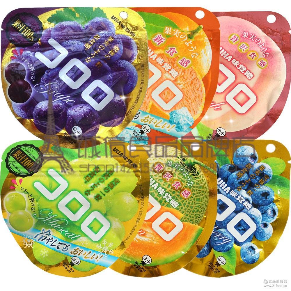日本进口零食 悠哈UHA*果汁究极葡萄白桃橘子蓝莓软糖QQ糖40g