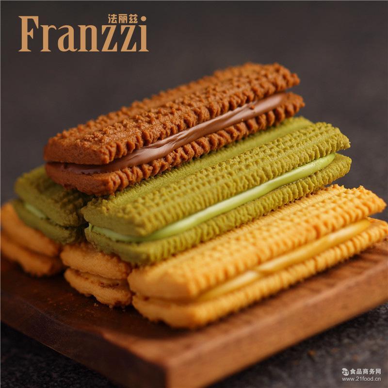 法丽兹夹心曲奇 醇香黑巧克力抹茶慕斯香草柠檬味饼干 115克