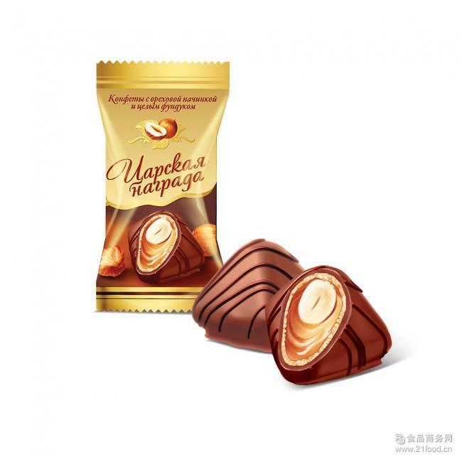 500克 休闲零食 俄罗斯进口糖果*奖品榛子巧克力/沙皇1号金色