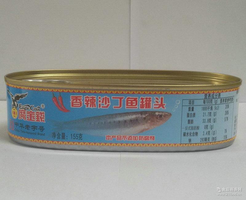 香辣沙丁鱼罐头 鹰金钱香辣沙丁鱼罐头155g 户外即食食品