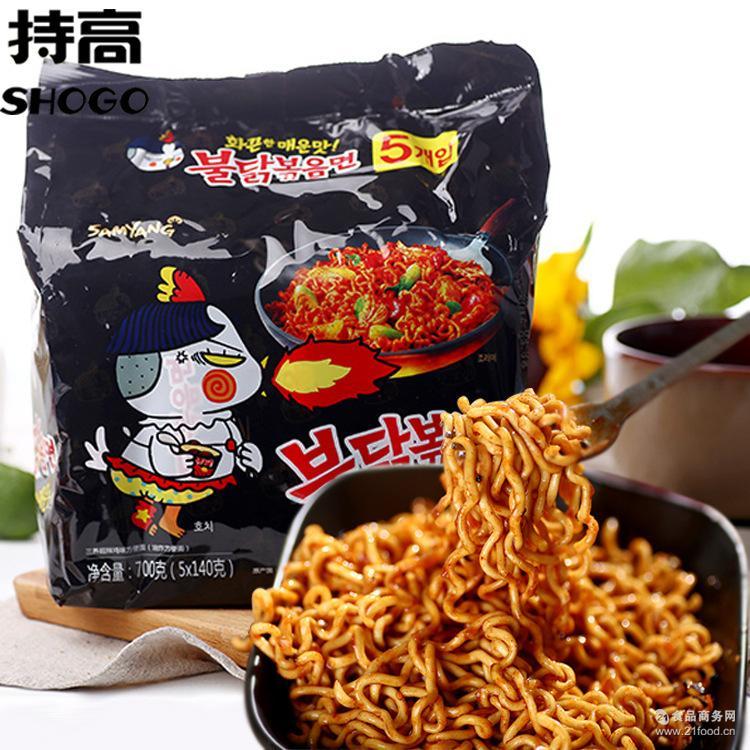 批发 韩国进口三养超辣火鸡面鸡肉味拌面140g*5包休闲零食方便面