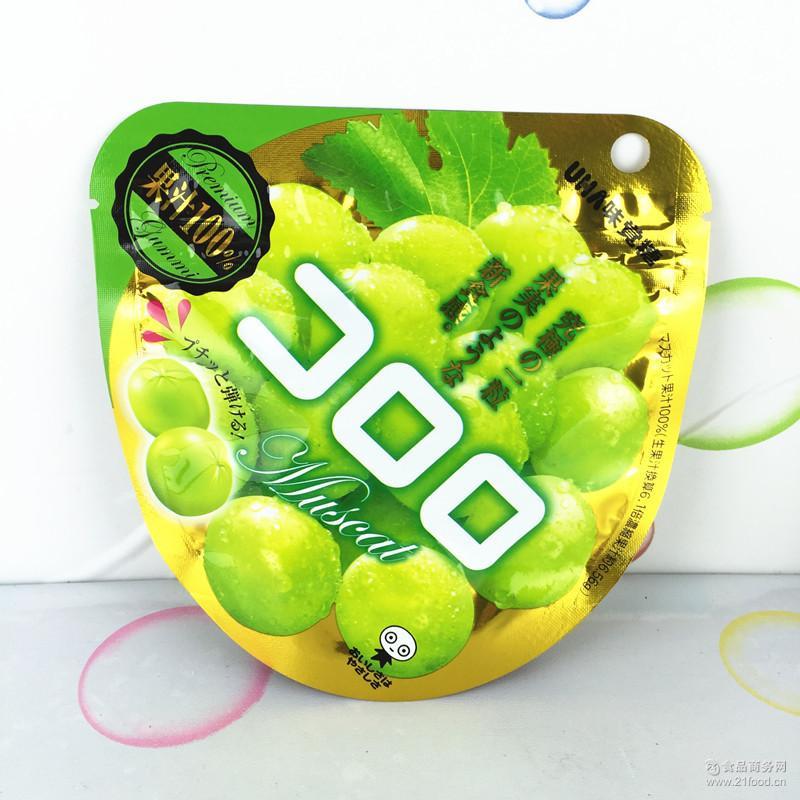 UHA悠哈味觉糖 果汁*青提子绿葡萄橡皮软糖果40g 日本进口零食