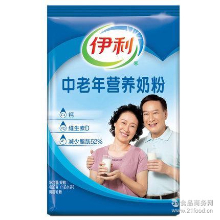 伊利中老年营养奶粉400g 成人老人无蔗糖全脂补钙16小袋装