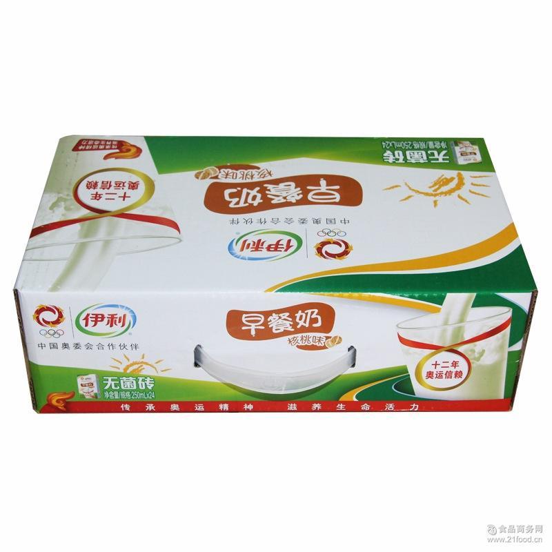 伊利牛奶饮料 无菌苗条装砖核桃燕麦味早餐奶250ml*24