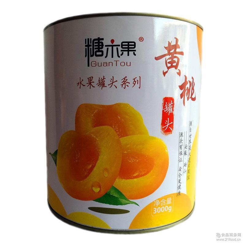 砀山糖水黄桃罐头对半开西餐饮烘焙火锅店果味水果罐头3KG*6罐装
