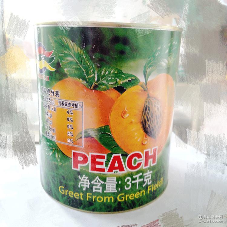 批发零售 中西餐烘焙航空蛋糕甜品用成吉糖水黄桃罐头3000克