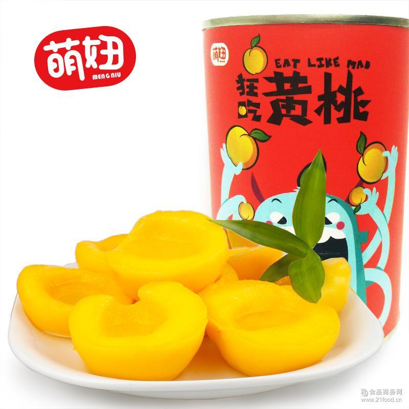 糖水黄桃罐头休闲食品 新鲜水果罐头 萌妞黄桃罐头425g/罐