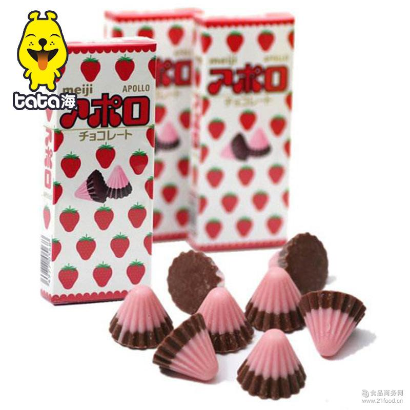 明治Meiji 阿波罗可爱太空船草莓巧克力 日本 朱古力48g