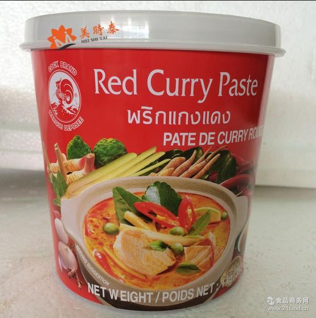鸡牌红咖喱酱 泰国原装进口泰国咖喱 鸡牌红咖哩1kg*12瓶/箱