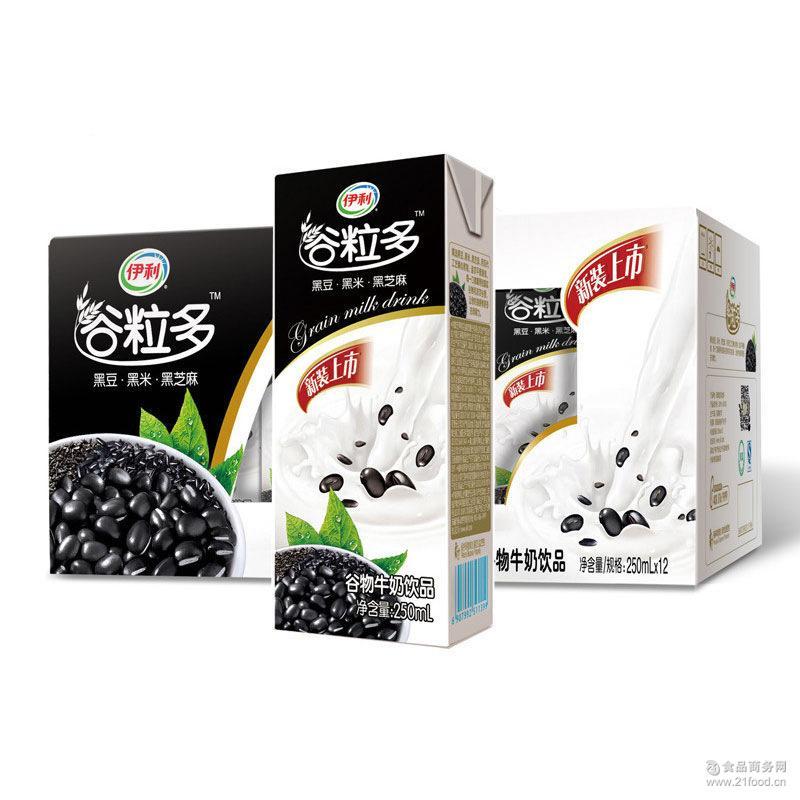 谷物牛奶 正品伊利谷粒多黑豆黑米黑芝麻谷物牛奶饮品250ml*12盒