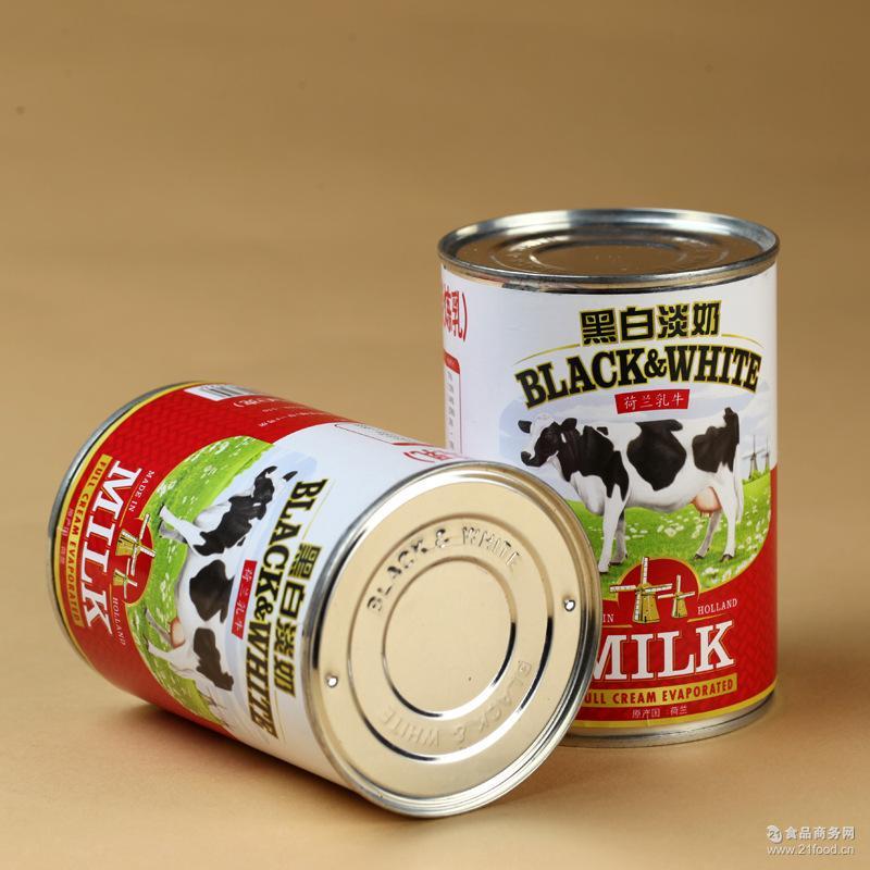 奶茶原料48灌/箱黑白全脂淡奶烘焙食材食品批发 黑白淡奶385ml