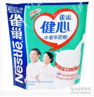 无蔗糖 雀巢健心中老年奶粉 强化钙质 雀巢奶粉中老年健心400G