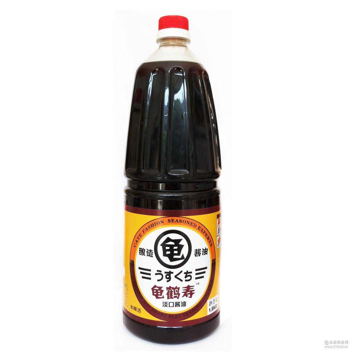 日本日式调理酱油 日本料理蘸料 料理调料 龟鹤寿淡口酱油1.8L