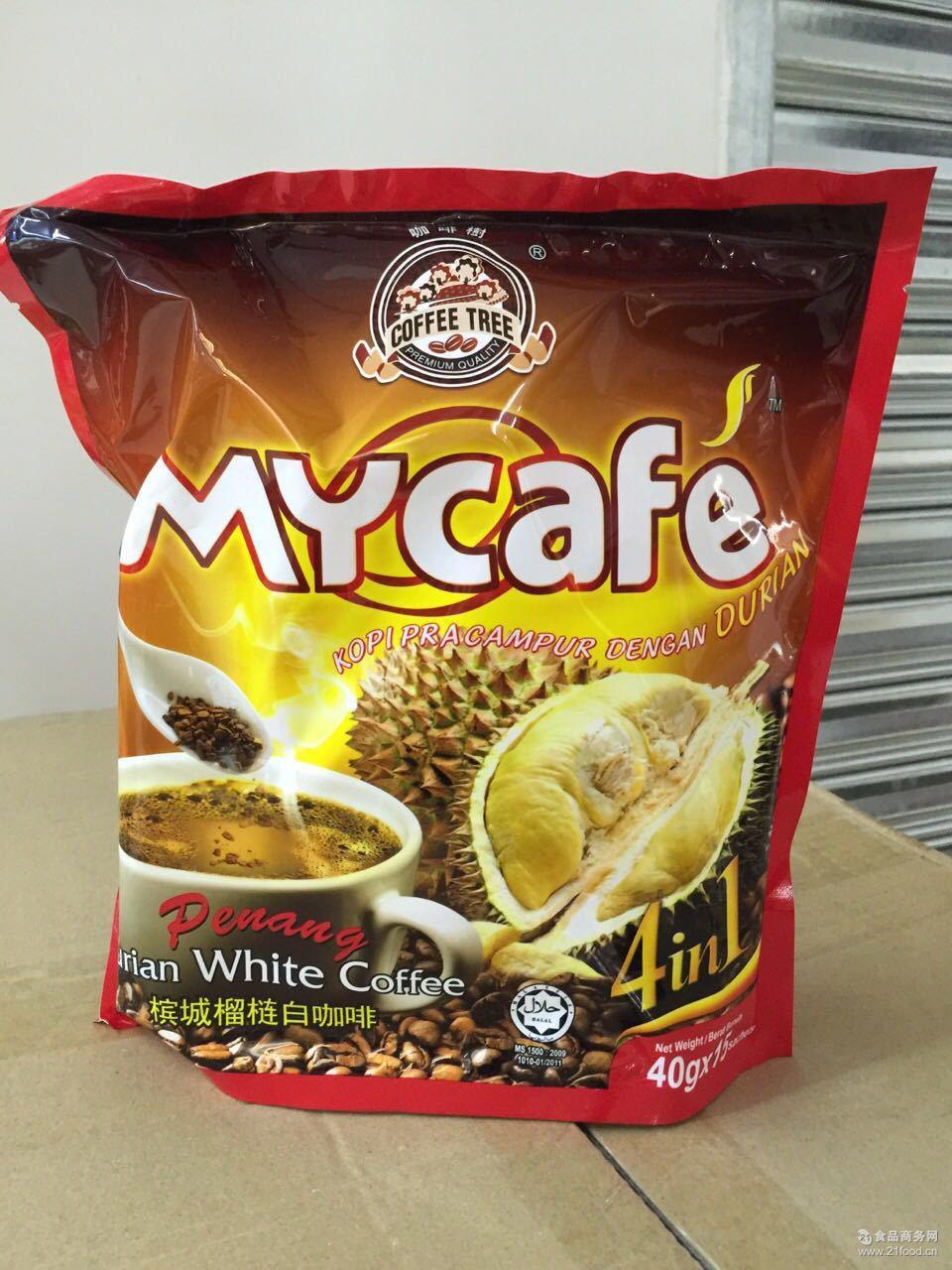 麦可菲mycafe榴莲咖啡600g来西亚进口槟城白咖啡速溶四合一 特价