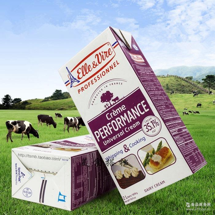 原装铁塔淡奶油动物性稀奶油蛋糕裱花鲜奶油烘焙原料2L*6