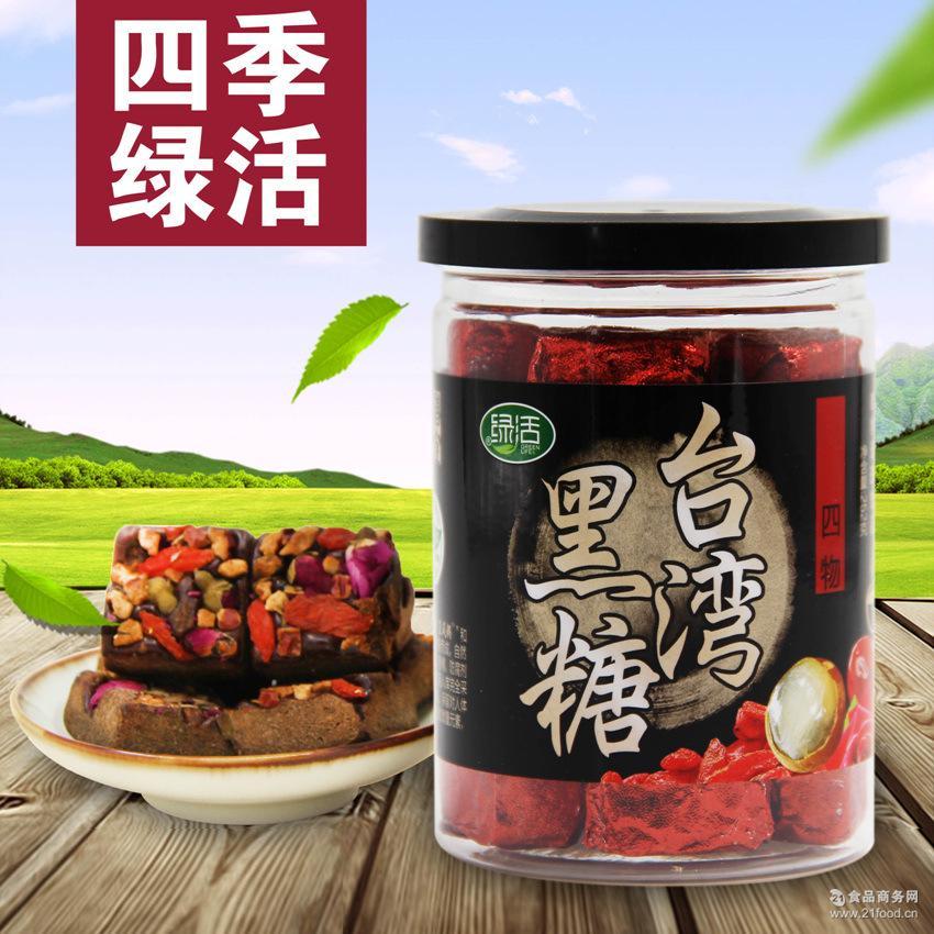 四季绿活台湾四物黑糖 桂圆红枣枸杞玫瑰古法红糖252g