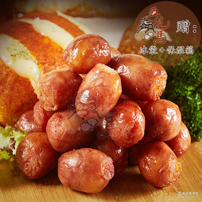台湾一口香肠儿童粒粒肠纯肉烤肠火山石烧烤特色小吃批發台式腊肉