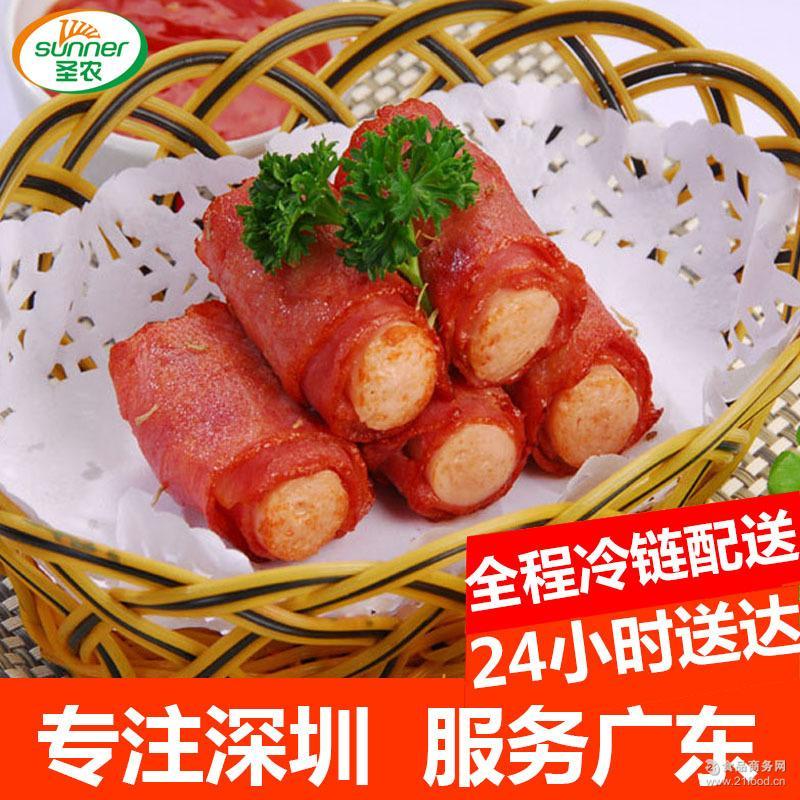 圣农美厨培根香肠卷10kg箱烧烤培根肉片烘焙 手抓饼香肠热狗烤肠