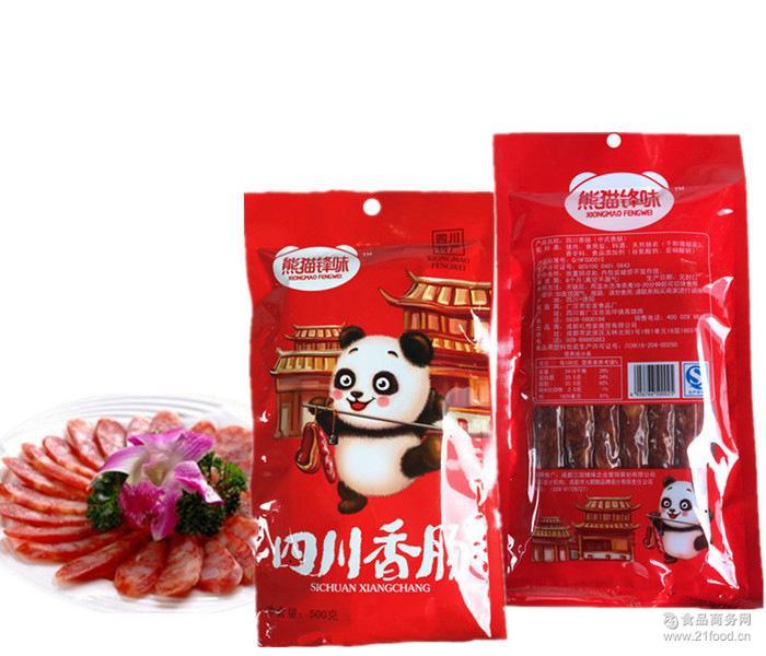 手工自制农家柴火烟熏土猪肉 熊猫锋味四川香肠500克 腌肉
