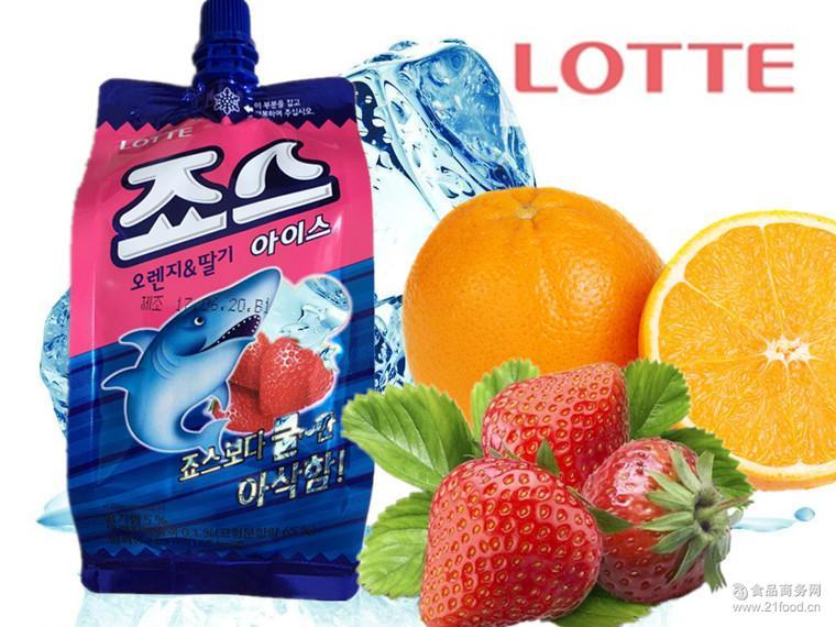 乐天香橙草莓混合味可吸的冰淇淋 乐天冷饮料160ml*24支/箱 韩国