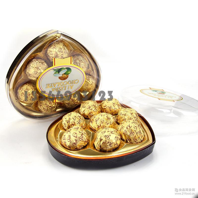 A76克 八粒爱丽莎高档塑料盒心形礼盒果仁巧克力礼盒装批发