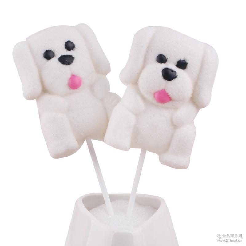 a创意35克巧巧猫卡通可爱小狗棉花糖棒棒糖果零食儿童食品
