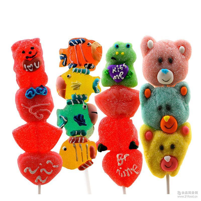 情人节礼物创意卡通动物造型糖果4粒串串软糖棒棒糖果送朋友礼物