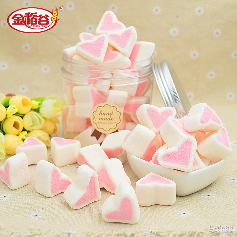 微商款罐装心形棉花糖创意爱心零食年货糖果软糖零食一件代发