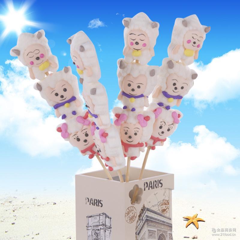 休闲零食棒棒糖软糖 愿旺食品新款糖果35G水果串烧喜洋洋棉花糖