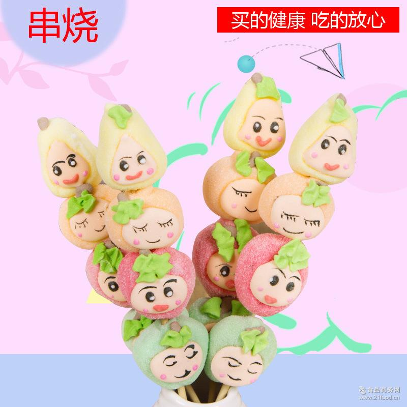 休闲零食棒棒糖软糖 愿旺食品新款糖果35g水果串烧水果宝宝棉花糖
