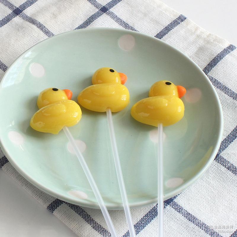 长杆小黄鸭棒棒糖圣诞节儿童可爱创意造型长棒喜糖果120支批发