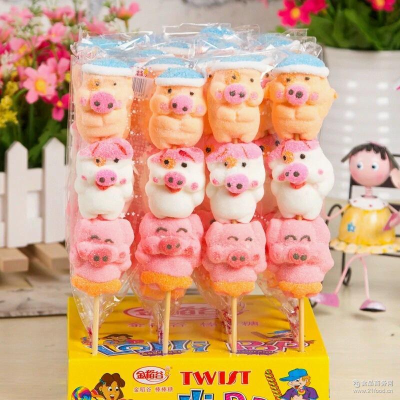 糖儿童糖果龙虾想表情包小吃稻谷金麦兜35克串烧1卡通猪棒图片