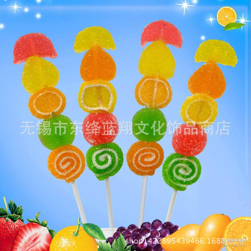创意20软糖串水果串串棒水果汁水晶qq串烧棒糖儿童糖果零食批发