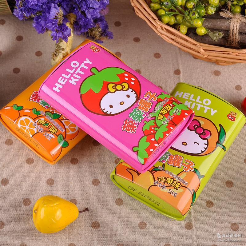 儿童*水果糖果零食品 热销 hellokitty菓菓罐子果汁软糖58g/盒