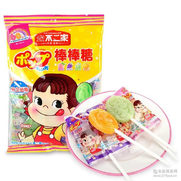 休闲儿童*糖果零食品批发 不二家水果味棒棒糖50g*8支*10包/袋