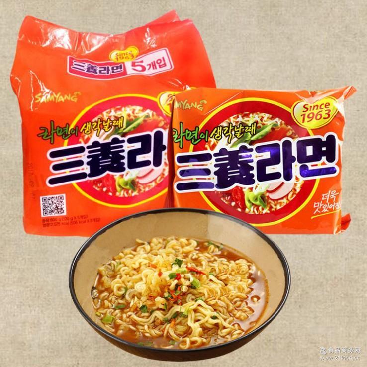 速食方便面韩式泡面汤面 韩国进口食品批发三养拉面120g*5包/袋