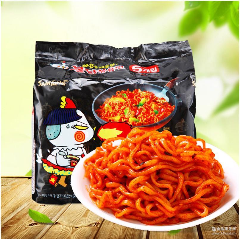 韩国进口17年7月产辣火鸡面鸡肉味拉面拌面速食泡面140g*5