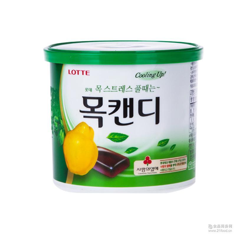韩国lotte食品批发口香糖水果糖乐天木瓜润喉桶148g*12